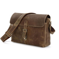 Maxdo High Quality Brown Vintage Real Genuine Leather Cowhide Thick Crazy Horse Leather Men Messenger Bags Cross Body #M7084