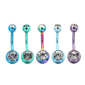 Vcmart 5 Pack Assorted Stainless Steel Crystal Gem Belly Navel Button Ring Body Jewelry Piercing Ring BarBell 14 Gauge