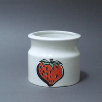 Arabia Finland Jam Jar, Pomona Series, Strawberry, 1960s, Designed by Raija Uosikkinen, Finnish Scandinavian Design, Scandi Modern Decor
