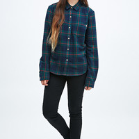 Obey Plaid Flannel Shirt in Green and Navy - Urban Outfitters