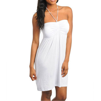 Draw String Casual Halter Dress in Ivory