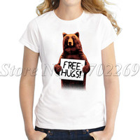 New fashion Women animal Brown Bear printed t-shirt Free Hugs funny design lady tops short sleeve O-neck casual fashion tee