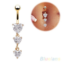 Body Piercing Gold Navel Rings 3 Heart Crystal Clear Dangle Belly Button Rings  2JF5