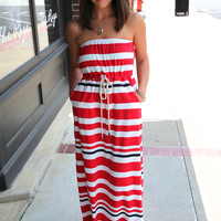 Nautical Striped Maxi {Red}