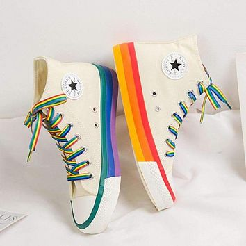 SWYIVY Rainbow Bottom High Top Sneaker Shoes