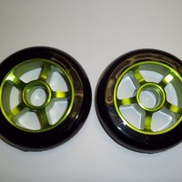 SCSK8 Metal Core Scooter Wheels 100mm BLACK and GREEN with FREE Bearings (scs-scooter-wheel-mc)