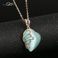 Design 18K Rose Gold Plated Semi-precious Necklaces pendants Jewelry Lake Blue Crystal Women