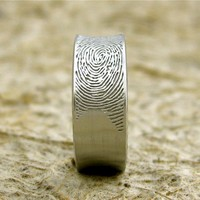 14K White Gold Finger Print Ring or Thumbprint Wedding Band Concave Matte Personalized Customized
