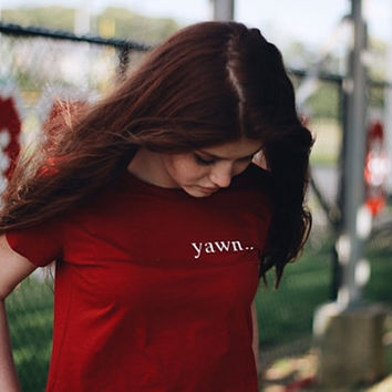 Yawn.. Left Patch Red Pocket tee Tumblr T-shirt