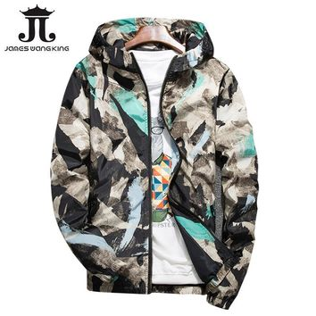 Cool Fashion Mens printing hooded jacket New 2018 Thin military jacket Features Zipper Floral windbreakers jacket plus size 4XL,5XLAT_93_12