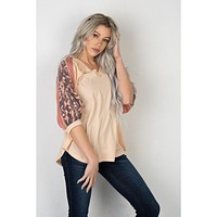 Blush Top with Mocha Floral Sleeves