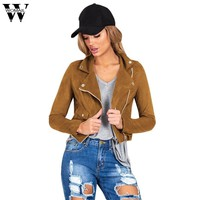 Womail Mujer Fashion Women Slim Long Sleeve Faux Leather Zipper Jackets Women Black Coat Amazing dec13G1