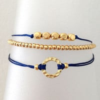 Triple Gold and Royal Blue Friendship Bracelet with Adjustable Cord