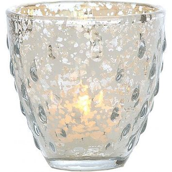 Vintage Mercury Glass Candle Holder (3.25-Inch, Small Deborah Design, Silver) - For Use with Tea Lights - For Home Decor, Parties, and Wedding Decorations