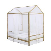 G305773 - Altadena Canopy Bed With LED Lighting - Matte Gold