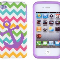 DandyCase 2in1 Hybrid High Impact Hard Nautical Anchor Colorful Chevron Pattern + Purple Silicone Case Cover For Apple iPhone 4S & iPhone 4 + DandyCase Screen Cleaner