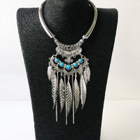 Silver Boho Necklace, Bohemian Necklace, Turquoise Necklace, Gypsy Jewelry, Jewellery