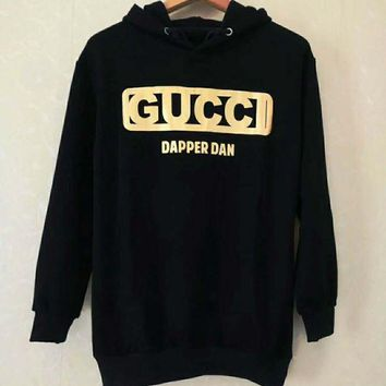 GUCCI Tide brand golden letter printing men's sports wild hooded hoodie