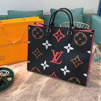 LV simple color letter printing large capacity shopping bag tote bag crossbody bag