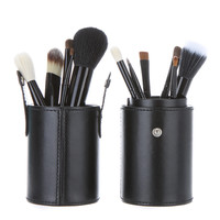 12pcs Black Cosmetic Brush Kit with Cup Leather Holder Case