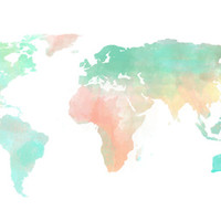 Watercolor World Map Art Print by Sunkissed Laughter