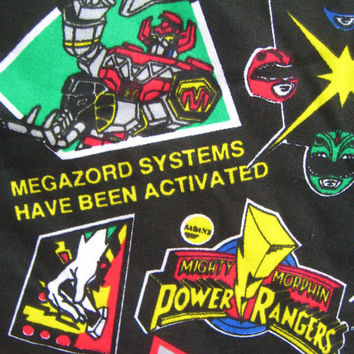 Vintage Mighty Morphin Power Rangers Fabric By The Quarter Yard 9 x 60 Inch Child Kids Bedding Boy Bedroom Decor Fabric Clean UNUSED