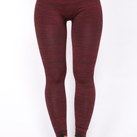 Carli Fleece Lined Leggings - Red/Black