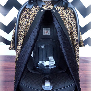 Small Cheetah and Black Minky Carseat Canopy - The Canopy Shoppe, Baby Car Seat Cover