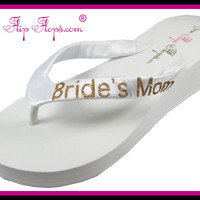 Mother of the Bride Flip Flops BLING Bride's Mom Wedding Bridal Bling Ivory White Glitter Wedge Womens Platform Satin Bride Flip Flops