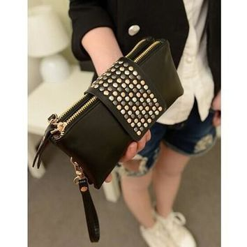 Hot selling PU Leather fashion designer Rivet bag women wallet Bag fashion women's clutches