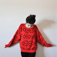 Vintage 80's Red Patterned Sweater