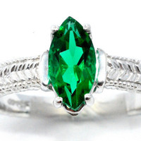 2 Carat Emerald Marquise Ring .925 Sterling Silver Rhodium Finish White Gold Quality