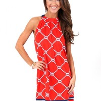 Red And Navy Tied Together With A Smile Dress   Monday Dress Boutique