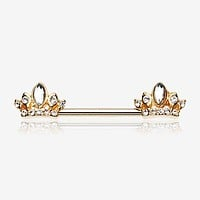 A Pair of Golden Tiara Crown Sparkle Nipple Barbell Ring