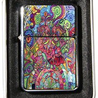 Windproof Customized Chrome Oil Lighter - Psychadelic Art - Collectable, Refillable, Damn Cool. :)