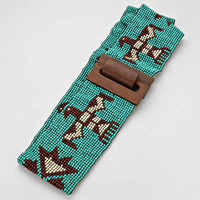 Boho Chevron Wooden Belt Tribal Bird Turquoise