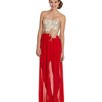 Jodi Kristopher Sequin Illusion Maxi Dress | Dillards.com