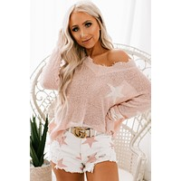 Star Child Fringe Sweater (Light Pink)