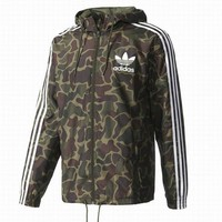 Adidas Stylish Women Men Loose Camouflage Zipper Long Sleeve Hoodie Jacket Coat