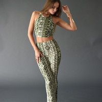 Printed Halter Crop Top + Flare Pants Set - Green