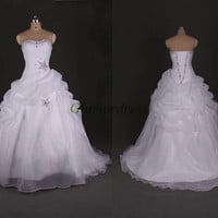 white long wedding dresses with crystals and sequins unique beaded lace up back bridal gowns strapless crystal yarn prom dress hot