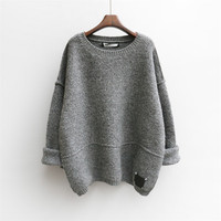 Women Sweater Pullovers Autumn Winter Oversized Sweaters Pull Korean Buderry Loose Fashion Jumpers Mohair Sueter Mujer