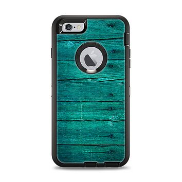 The Bright Emerald Green Wood Planks Apple iPhone 6 Plus Otterbox Defender Case Skin Set