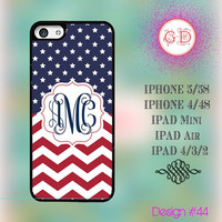 USA Custom American Flag July 4 Star Chevron Pattern Monogram @ IPhone 5 / 5S Case IPhone 4 / 4S Case , IPad Air , IPad Mini Smart Cover #44