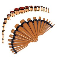 Gauges Kit Brown Tapers Rose Gold Plugs Steel 14G-00G Stretching Set 36 Pieces