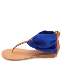 Chiffon Ankle Cuff Thong Sandals by Charlotte Russe - Cobalt