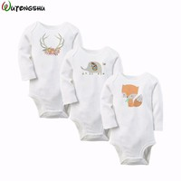 3PCS/LOT Newborn Baby Boy Romper Summer Winter Cotton Baby Girl Jumpsuit Clothing Long Sleeve Baby Overall Body For Baby Clothes