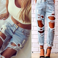 Sexy Women Destroyed Ripped Distressed Slim Denim Pants Boyfriend Jeans Trousers