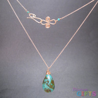 """Green marbled turquoise drop on chain, 18"""" Necklace Gold Or Silver"""