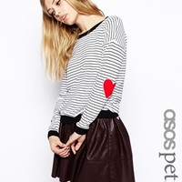 ASOS PETITE Stripe Sweater With Heart Elbow Patch - White/